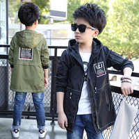JENYA Children's Clothing Boy  Hooded Coat Dust Coat Warm Autumn And Winter Teenagers Kids Jacket cw308