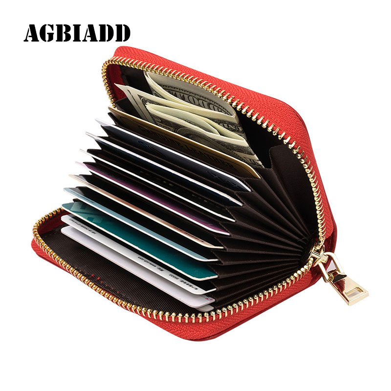 AGBIADD Women's Zipper Cute Wallets Small Red Purse Ladies Fashion Genuine Leather Credit Card Holder B584