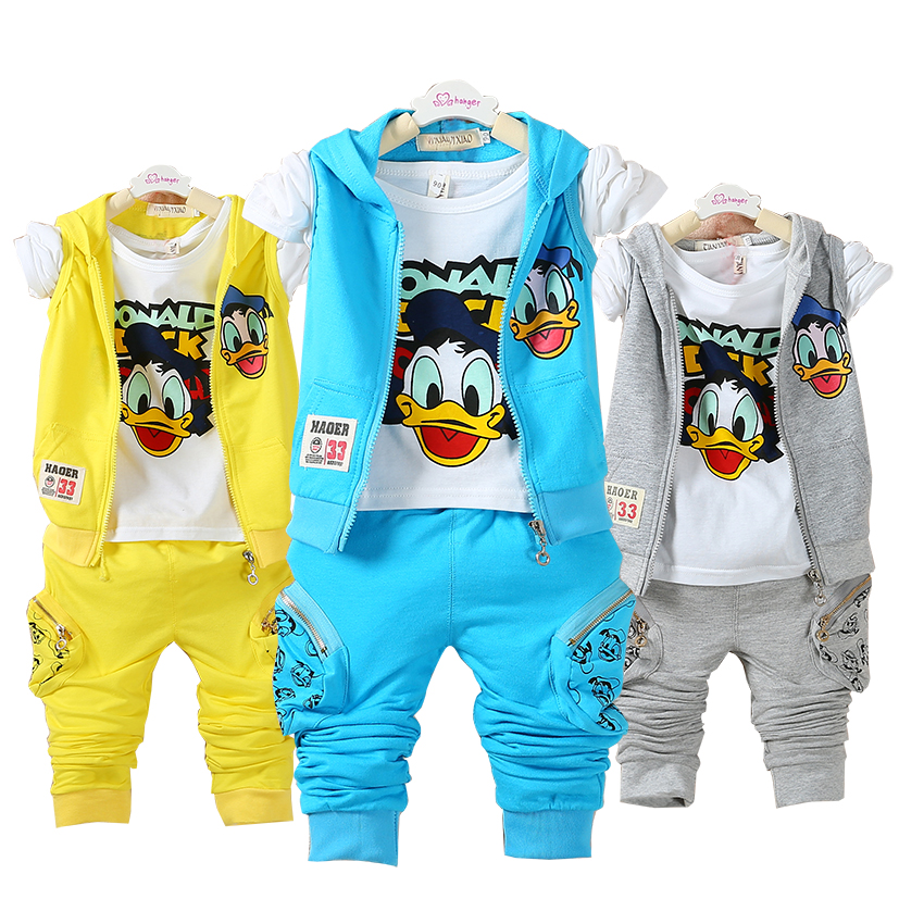 4 Color 2016 Boys Cotton Clothes set Baby Baby Girls Cartoon Cottom Clothing set Kids Spring
