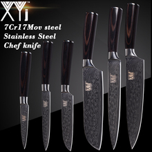hot deal buy xyj damascus pattern kitchen knives accessories cooking knife chef slicing santoku utility paring 7cr17 stainless steel knives