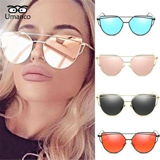 f4d780a37f557 Umanco Mulheres Moda de Metal Duplo Len Espelhado Óculos Oversized Óculos  Vintage Para Moda Feminina Estilo