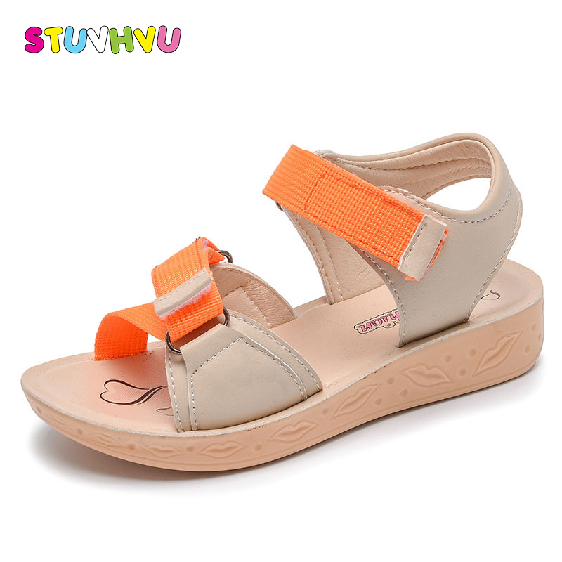 2018 Summer children sandals girls princess candy color flats shoes toddler kids casual party leather shoes flower beach sandals