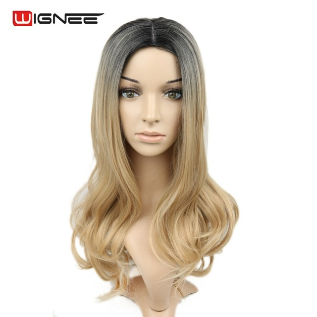 Ombre Synthetic Hair Wigs For Black Women Black Ash Blonde Natural Cheap Perruque Cosplay Freestress For