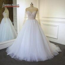 새로운 모델 투명 탑 섹시한 웨딩 드레스 amanda novias real work