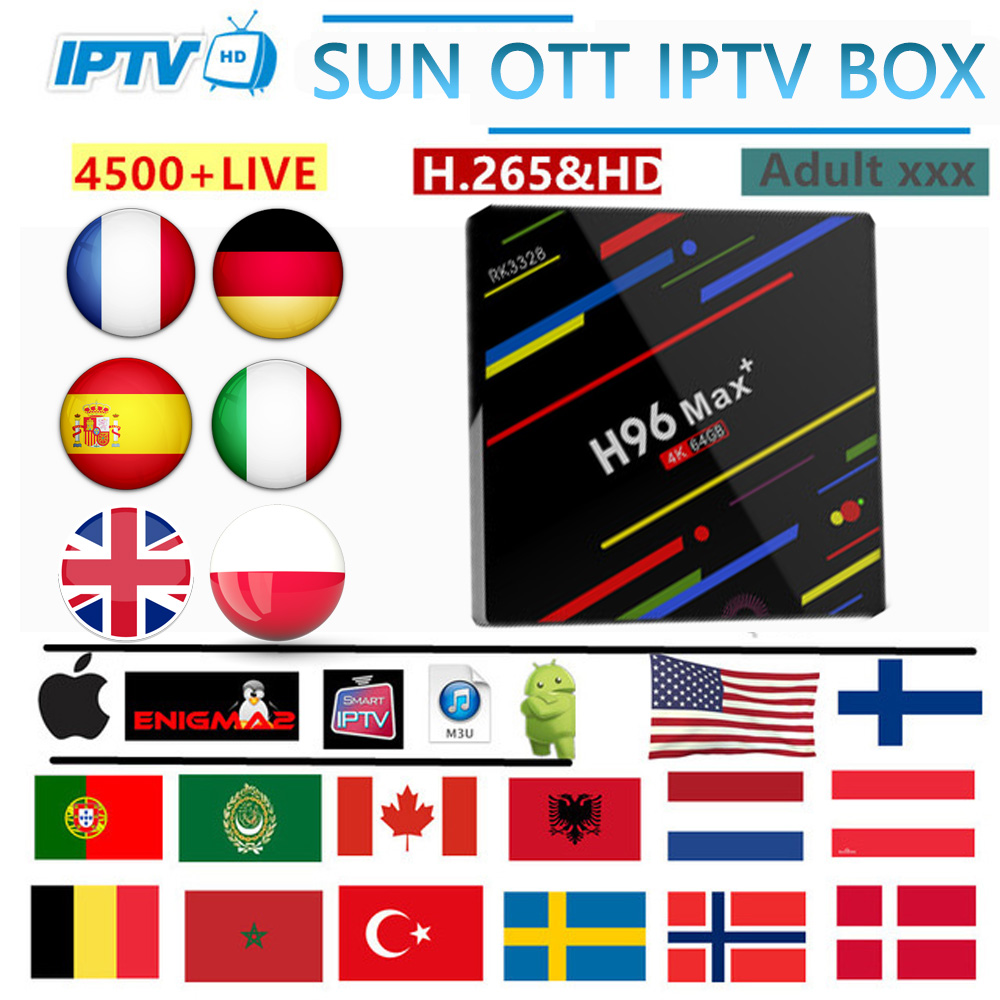 h96 MAX android TV box 9 0 6000Live 7500vod Ultra HD French Spain Italy USA Arabic