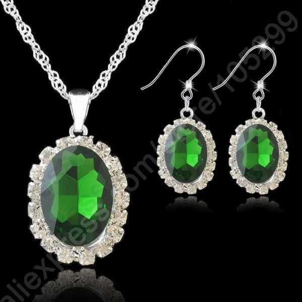 Новый настоящий чистый тонкий 925 стерлингового серебра ювелирные наборы Австрийское ожерелье с каплевидными кристаллами кулон крючок для ожерелья Серьги