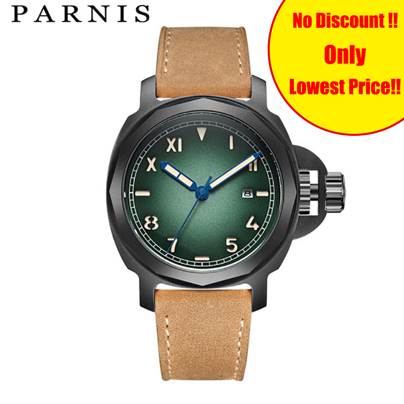 Brand Top Men's Automatic Watches <font><b>Parnis</b></font> Casual Mechanical Watch 42mm <font><b>10Bar</b></font> Waterproof 100% Genuine Leather Man Watch Wristwatch image