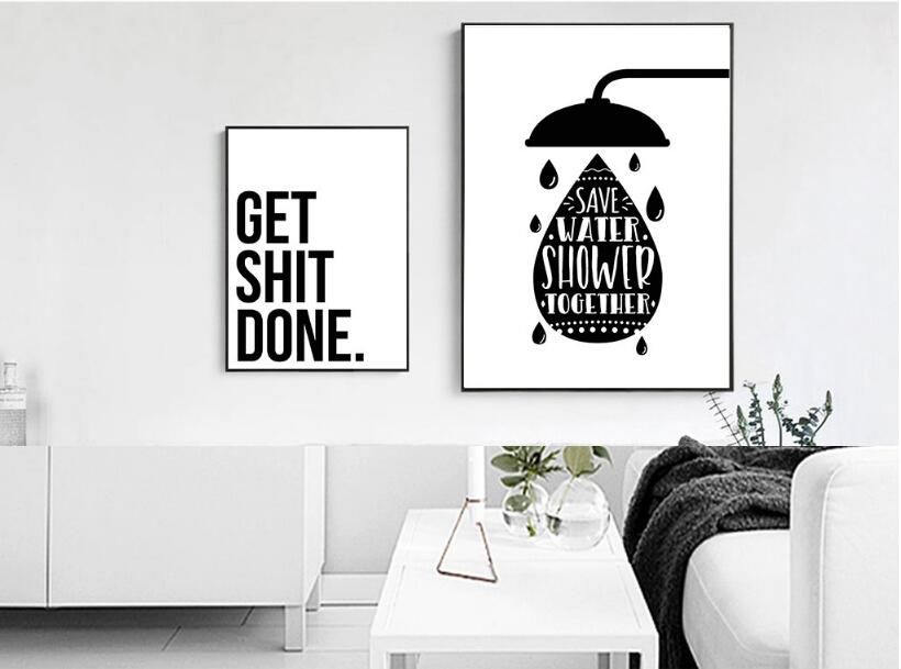 Almudena Bathroom Fun Words Nordic Decorative Toilet Personality Ideas Canvas Painting Unframed Wall Art Prints With Free Shipping Worldwide Weposters Com