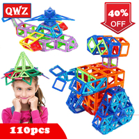 QWZ New 110pcs Mini Magnetic Designer Construction Set Model Building Plastic Magnetic Blocks Educational Toys For