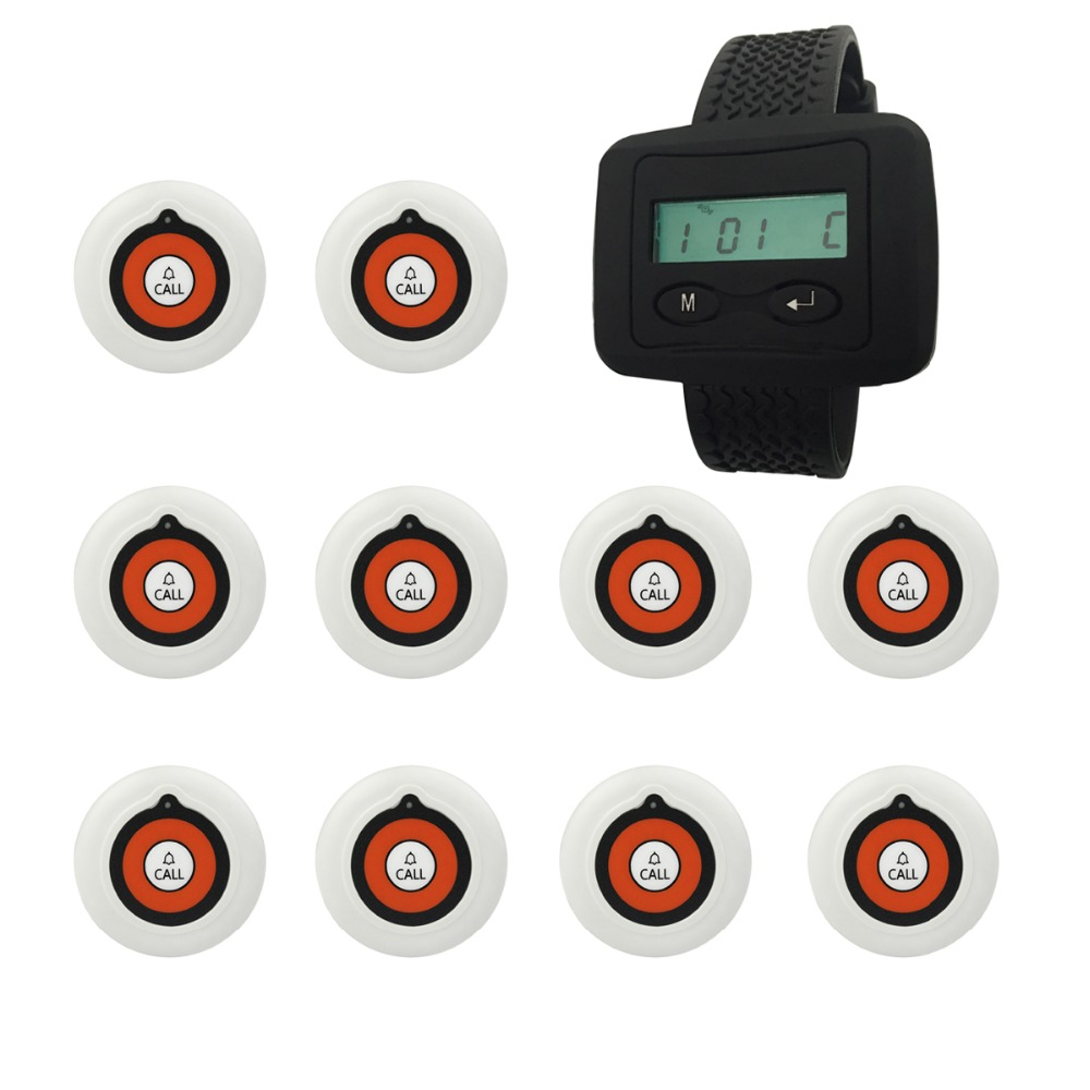 Restaurant Office Wireless Calling Paging System 10pcs Transmitter Button + 1 Receiver Host Restaurant Equipment F3228A+10F3224B guest pager for wireless restaurant paging system 15 buzzer button h3 wy and 1 wireless receiver p 200cd one year warranty time