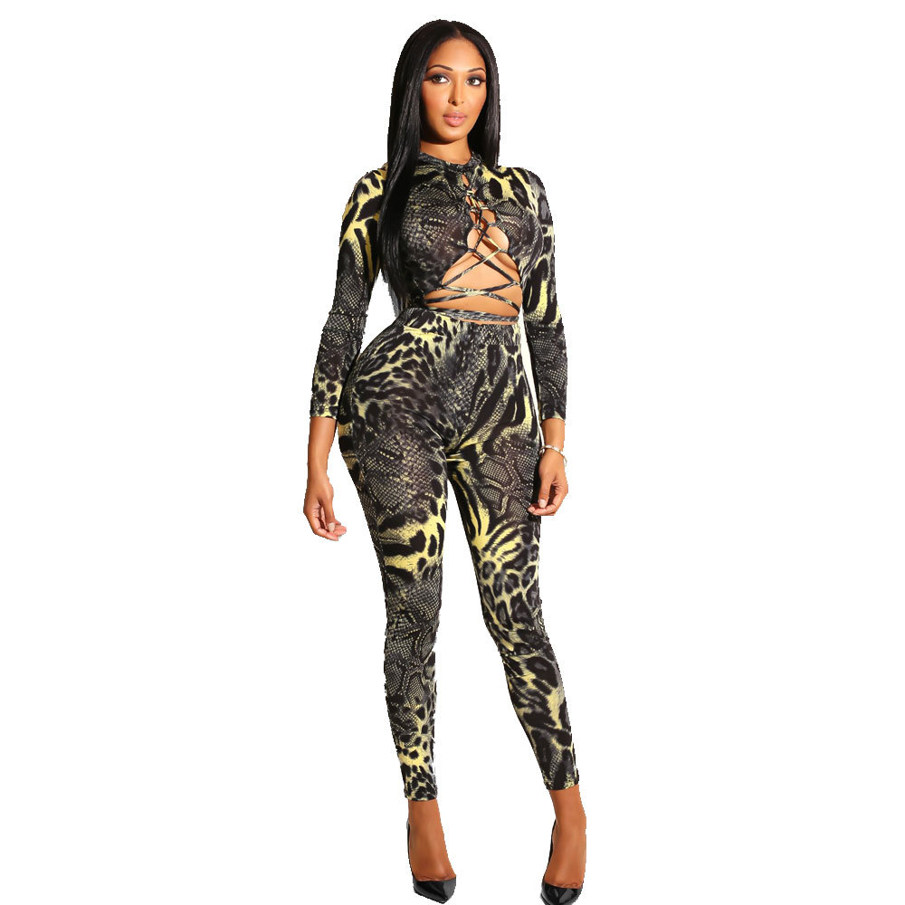 Rompers Womens Jumpsuit Long Pants Bodycon Bandage Overalls For Women Elegant With Sleeves Hollow Out Tight Bodysuit 2019 Snake