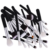 New 25 Pcs Makeup Brush Nylon Hair Black Handle Foundation Multifunction Blending Brush Professional Brush Makeup