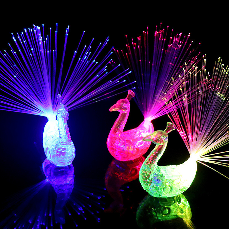 5PCS LED Finger Light Ring Creative Colorful Peacock Finger Lights For Party Cheering Novelty Glowing Toys Halloween Gifts