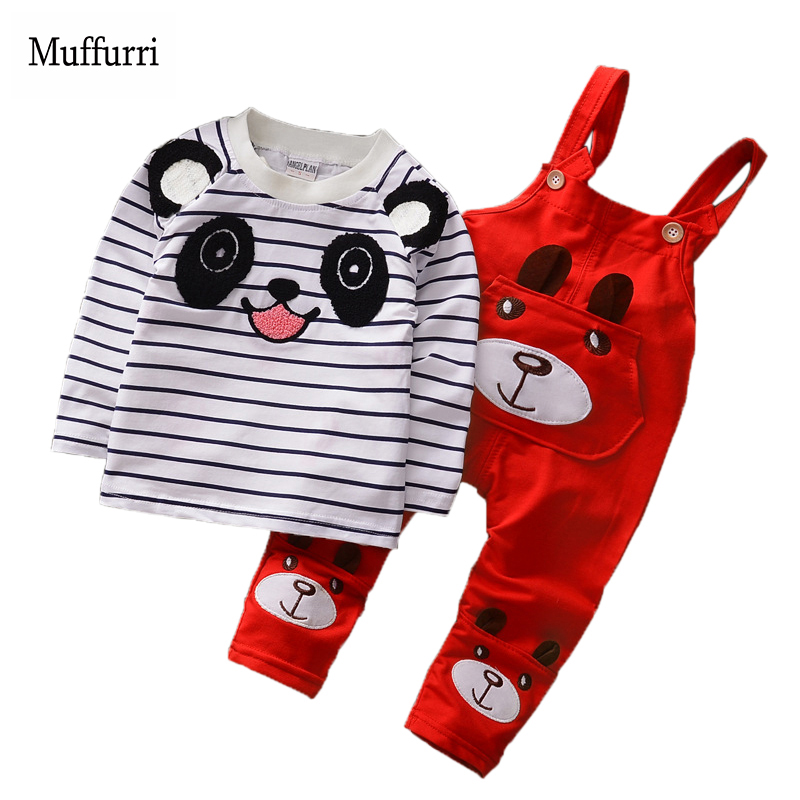 Muffurri Children Clothing 2pcs Kids Set T-shirt + Bib Pants Baby Girls Boys Spring O-neck Cotton 2018 Fashion Clothes Sets