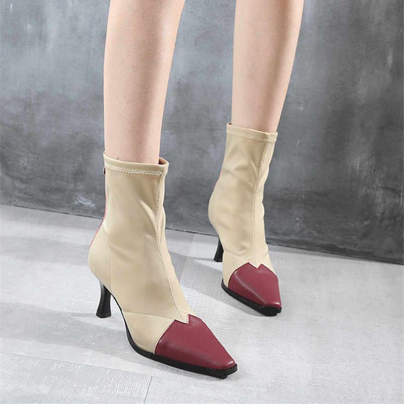 Prova Perfetto Kare Ayak Kadın Çorap 7 CM Yüksek Topuklu Elastik Botines Mujer kadın elbisesi Ayakkabı Kadın yarım çizmeler