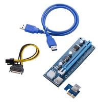 VER 006C Riser Miner PCIE Express PCI E 1X to 16X USB3.0 Data Cable SATA 15Pin 6Pin IDE Molex Power Supply For BTC Miner 10pcs G