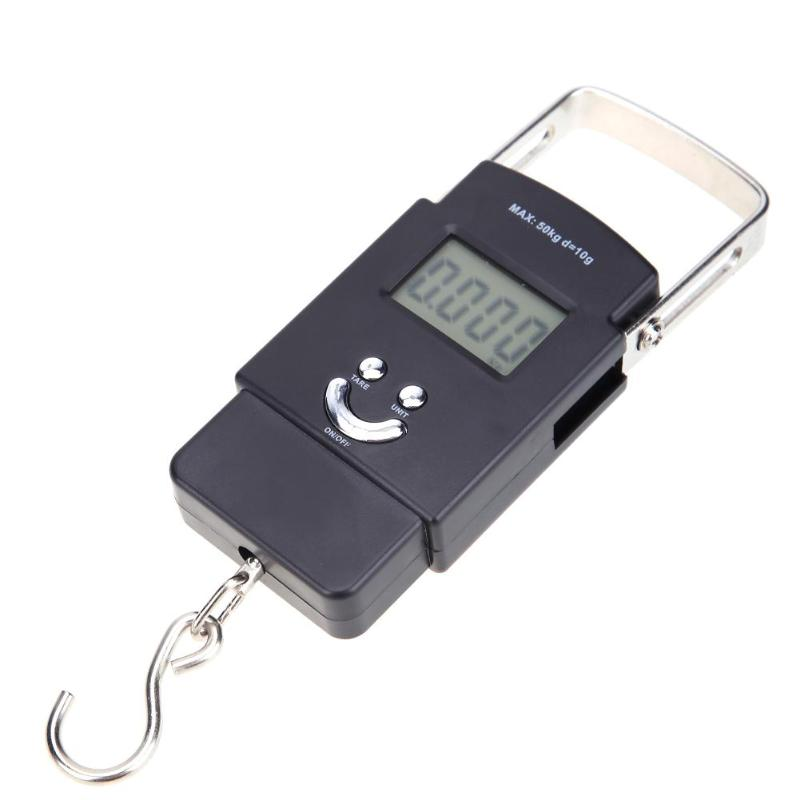 50kg/10g Portable Electronic Scale Travel Hanging Hook Scale LCD Backlight Electronic Scale Hook Luggage Weight Steelyard
