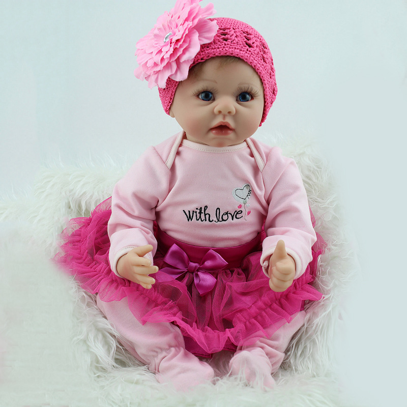 22 inch 55cm Silicone Reborn Baby Dolls Alive Lifelike Real Dolls Realistic Reborn Babies Princess Girl Toys Creative Gift L655 free shipping hot sale real silicon baby dolls 55cm 22inch npk brand lifelike lovely reborn dolls babies toys for children gift