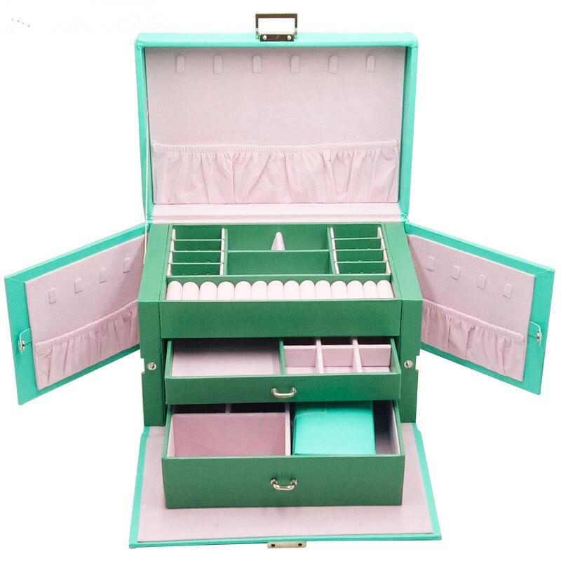 New Jewelry Box Custom European Large-capacity Multi-face Open Storage PU Leather Earrings Spot