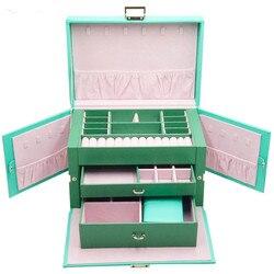 Nouveau luxe bijoux boîte cadeau en bois Simple créatif boîte à cosmétiques 3 couches bijoux boîte de rangement en cuir étuis et affichages