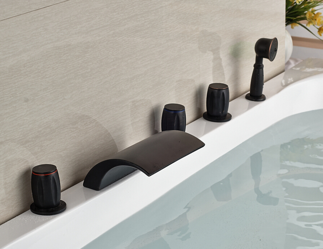 3 Knobs Bathtub Faucet Arc Waterfall Spout Oil Rubbed Bronze + Hand Sprayer