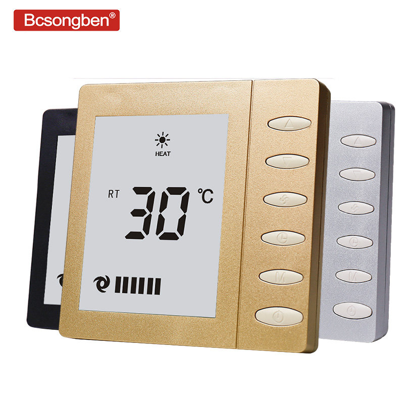 Bcsongben Air-conditioning LCD Screen Thermostat Fan Thermoregulator Temperature Intelligent Control Thermometer Switch Panel