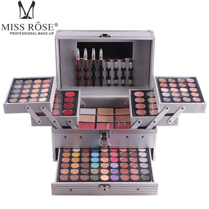 Miss Rose professional makeup set box in Aluminum three layers include glitter eyeshadow lip gloss blush for makeup artist MS067