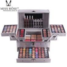 Miss Rose Maquiagem Profissional Kits para As Mulheres Três Camadas Da Sombra Batom Blush Em Pó Cosméticos Set com Caixa De Rosto Maquiagem Dos Olhos