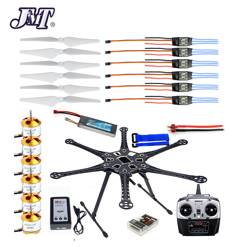 Jmt hmf s550 f550 hexacopter quadro kit com trem de pouso + esc motor soldado qq super placa controle rx & tx hélices