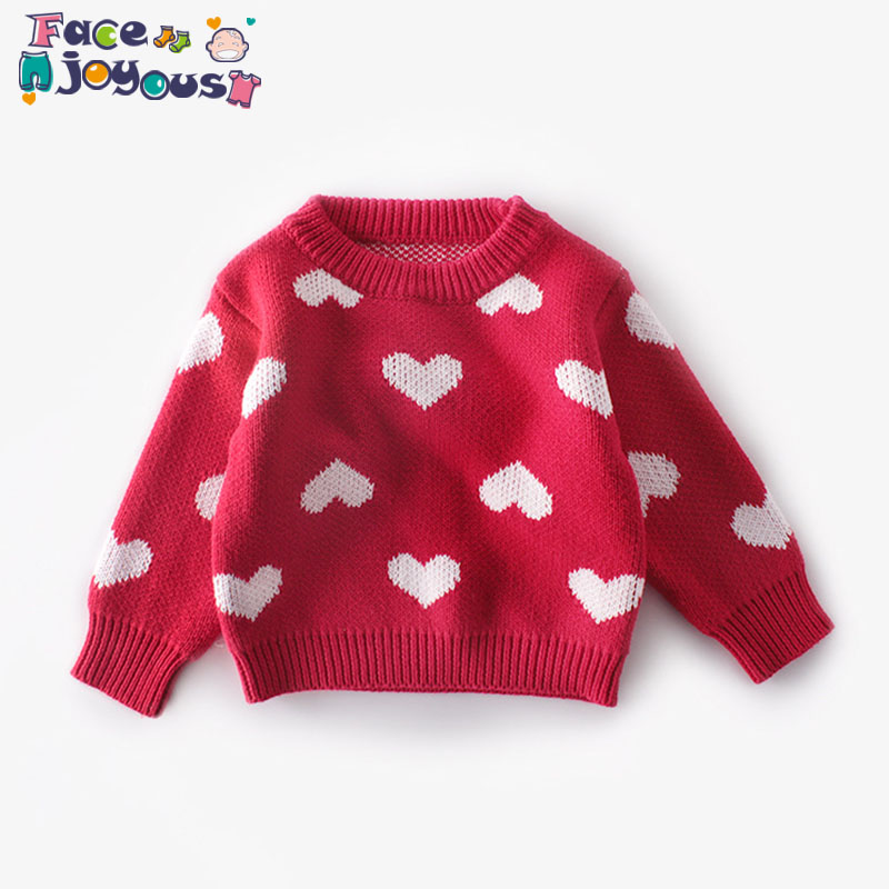 US $10.59 31% OFF|Cute Autumn Spring Baby Girls Sweaters Kids Clothes Children Cotton Knitted Sweater Baby Girls Cute Love Heart Sweater