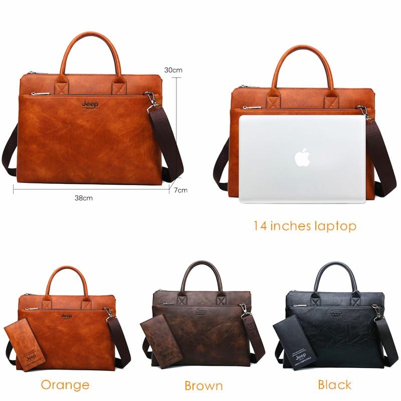 지프 buluo 고품질 남자 서류 가방 14 인치 노트북 비즈니스 여행 가방 핸드백 가죽 사무실 어깨 가방 남자에 대 한-에서서류 가방부터 수화물 & 가방 의  그룹 2