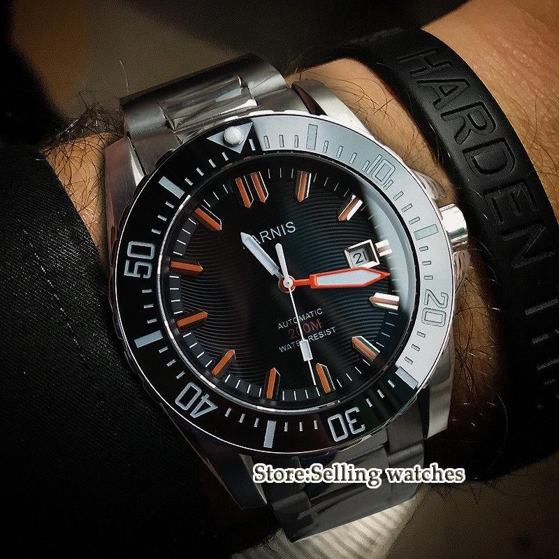 43mm Parnis watch Diver Sapphire glass Ceramic Bezel black dial luminous MIYOTA Automatic movement Men's watch цена и фото
