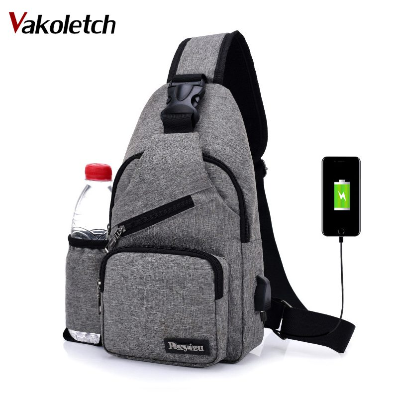 Unisex External USB Charge Chest Bags Male Men Chest Waist Pack Antitheft Travel Crossbody Bags For Men Sling Shoulder Bag KL251 women s nylon multifunction travel bags funny chest pack men waist pack hiqh quality waist bag unisex shoulder bag bolso cintura