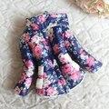 2014 inverno recém-nascido meninas floral jaqueta de algodão casaco grosso casaco quente ao ar livre para, De