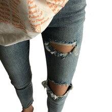 Jeans déchirés Pour Les Femmes Slim Crayon Pantalon Vintage Haute Taille  Trous Jeans Cheville Longueur Denim Skinny Jeans Pantal. 8f9ffa75ef51