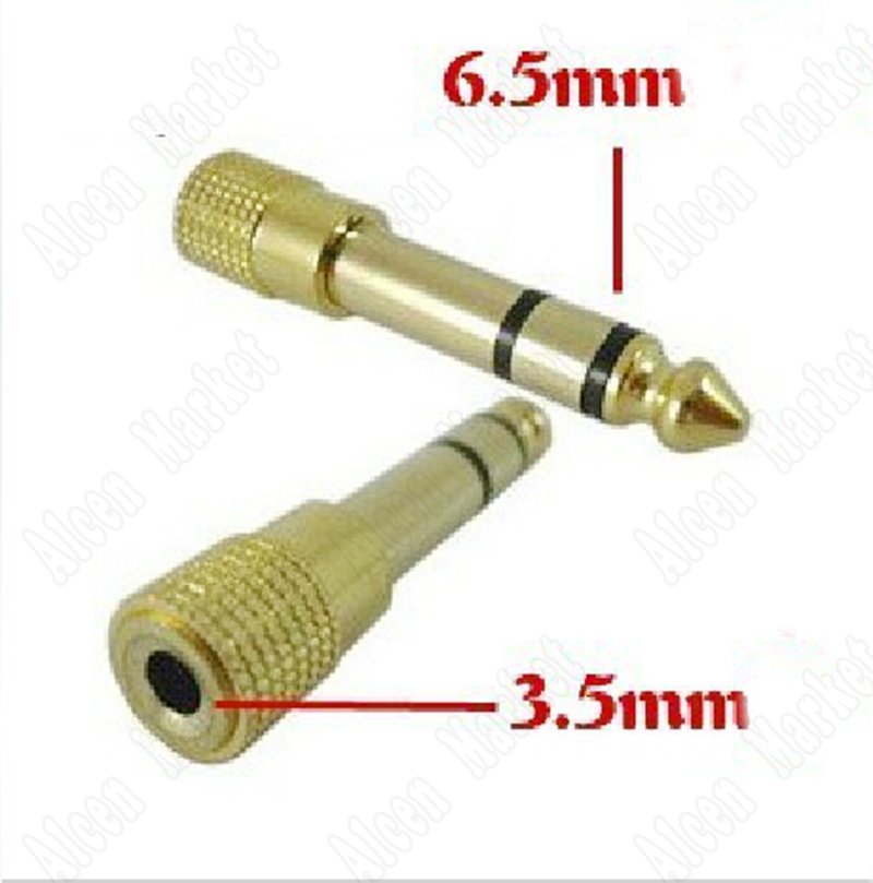 20pcs-500pcs Stereo 6.3mm Male To 3.5mm Convert Adapter Gold Plug Audio Jack Headphone Adapter
