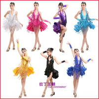 2016 Children Ballroom Dancing Girls Dance Competition Ballroom Samba Costume Sequins Latin Dance Dress For Girls