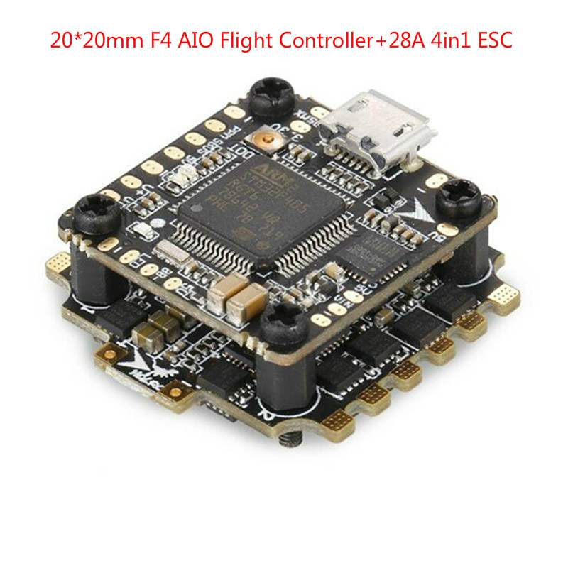 купить HGLRC XJB F428 Micro F4 AIO OSD BEC Flight Controller STM32F405RGT6 20x20mm &28A Blhel_S BB2 2-4S 4 in 1 ESC For RC Racing Drone онлайн