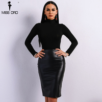 Missord 2019 Summer Sexy Off Shoulder Elegant Long Sleeve Latex Dresses Female High Neck Solid Color Bodycon Dress FT9055