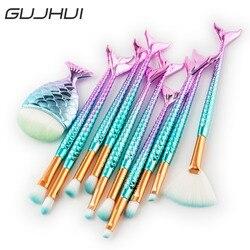 GUJHUI 15 pcs Rabo de Peixe Conjunto de Pincel de Maquiagem Em Pó Fundação Mistura de Blush de Contorno Da Sombra Dos Cílios Make Up Brushes Kit Cosméticos