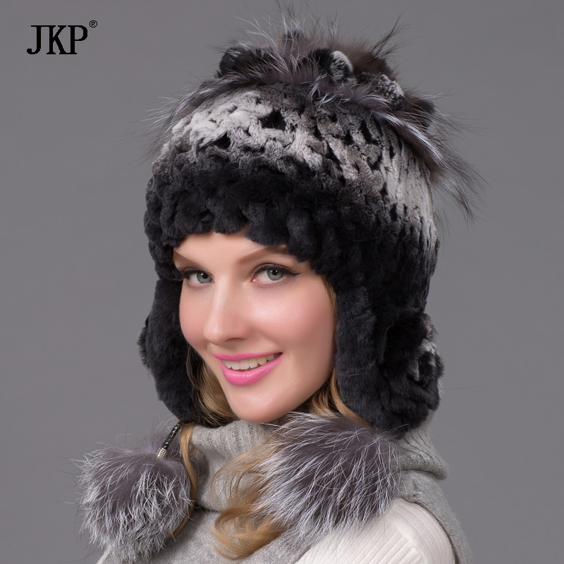 New Women's knitted fur hat rex rabbit fur pom-pom of  hat with fox fur hat knitted lining