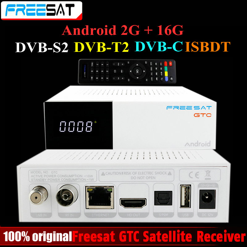 Freesat GTC Satellite Receiver DVB-S2 DVB-C DVB-T2 ISDB-T 2GB RAM 16GB ROM BT4.0 Amlogic S905D Top set box android 6.0 TV Box [genuine] freesat v8 golden dvb s2 t2 c satellite tv combo receiver support powervu biss key cccamd newcamd n usb wifi optional
