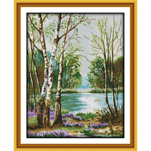 Everlasting love Beautiful view of lake Chinese cross stitch kits Ecological cotton printed  11CT DIY Christmas decorations gift