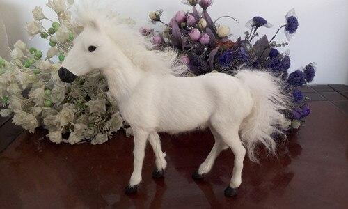 Blanc simulation cheval jouet polyéthylène et fourrures mignon cheval poupée cadeau sur 25x27 CM 274