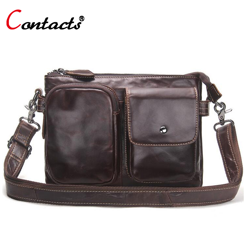 CONTACT'S Genuine Leather Briefcases Men Shoulder Bags Business Male Men Messenger Bag Designer Leather Crossbody Bag Men 2017 2017 genuine leather bag leather men shoulder crossbody bags briefcases business bag men s travel bags tote men messenger bag