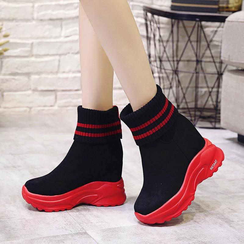 4379 Las Mujer Negro Zapatos Cuña rojo Altura Plataforma Alto Cm Zapatillas Botas Deportivas De 10 Moda Otoño Mujeres Casual Tacón Aumento TWfUEfqn