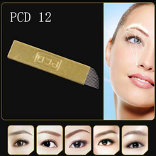 50PCS Permanent Makeup Eyebrow Tatoo Blade Microblading Needles Blade For 3D Embroidery Manual Tattoo Pen12 Hard Blade PCD12 Pin