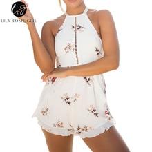 Лили Rosie Девочек выдалбливают Белый Цветочный принт пикантные Комбинезоны Для женщин с открытыми плечами летние пляжные шорты Песочники Boho Комбинезоны общая