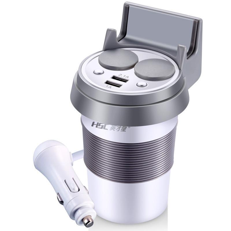 bilder für Hsc 12-24 v 2.1a auto-ladegerät dual usb adapter auto cup halter 2 buchse zigarettenanzünder für iphone xiaomi ipad telefon lade