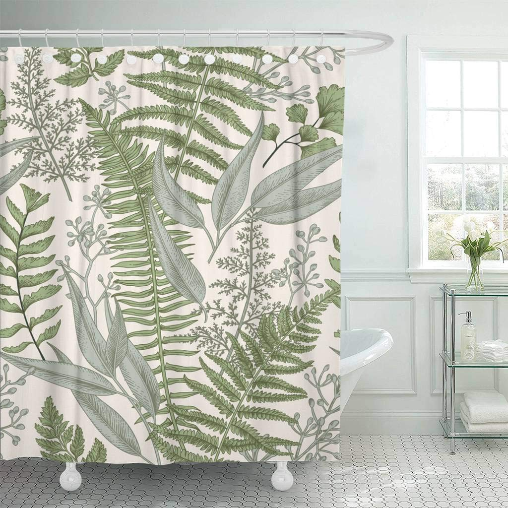 Fabric Shower Curtain with Hooks Green Fern Floral Pattern in Vintage Style Leaves and Plants Botanical Classic Drawing